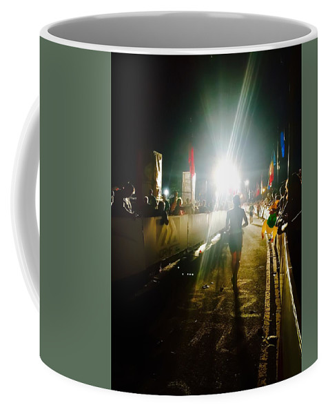 Running Coffee Mug featuring the photograph Finish Line Lights by Robert Kabeiseman