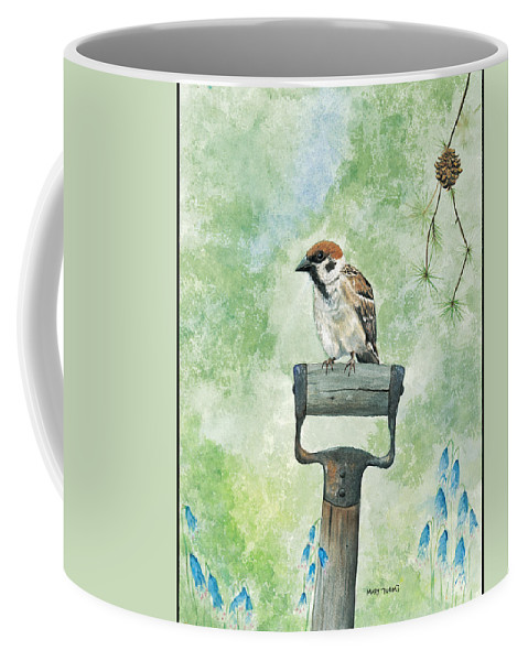Bird Coffee Mug featuring the painting Finnish Dotted Cheek Sparrow by Mary Tuomi