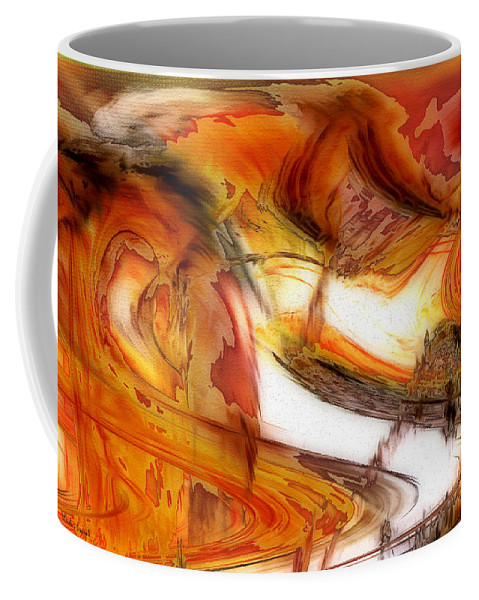 Abstract Art Coffee Mug featuring the digital art Fire And Rain by Linda Sannuti