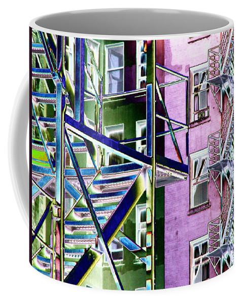 Fire Coffee Mug featuring the digital art Fire Escape 2 by Tim Allen