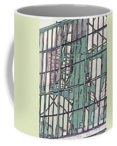 Fire Escape Coffee Mug featuring the photograph Fire Escape Reflection by Tim Allen