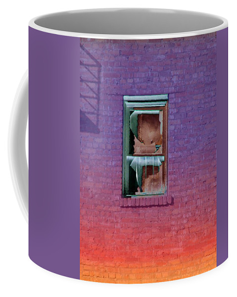 Architecture Coffee Mug featuring the photograph Fire Escape Window 2 by Tim Allen