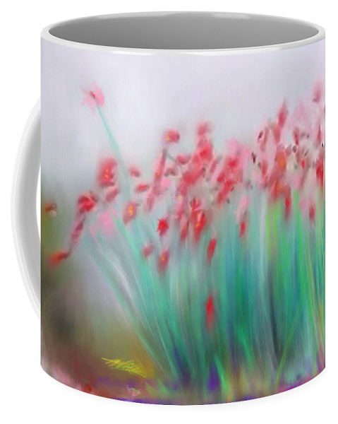 Abstract Coffee Mug featuring the digital art Fire-flowers-spring by Scott Smith