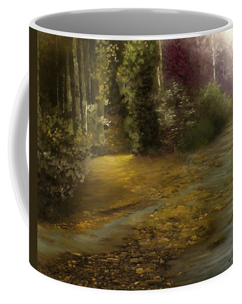 Landscape Coffee Mug featuring the painting Fire Fly Trail by Melissa Herrin
