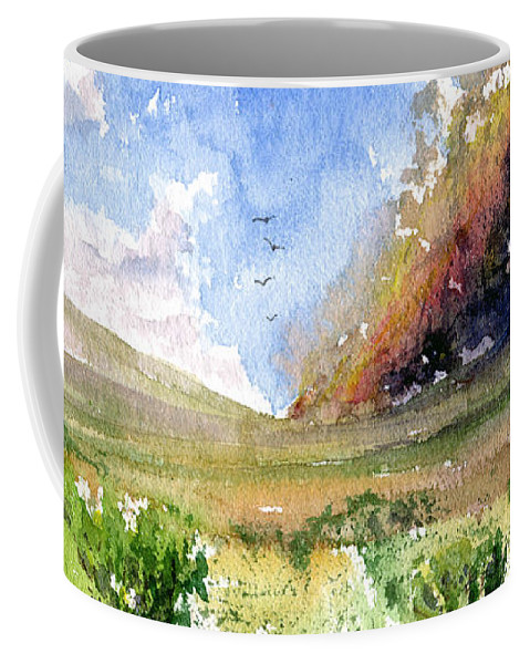 Fire Coffee Mug featuring the painting Fire In The Desert 1 by John D Benson