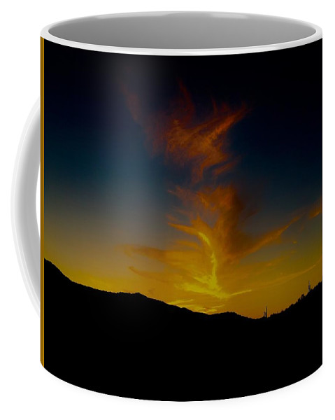 Coffee Mug featuring the photograph Fire In The Night by Joy Elizabeth