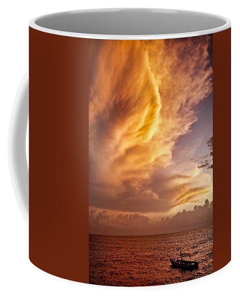 Jamaica Coffee Mug featuring the photograph Fire In The Sky by Dave Bowman