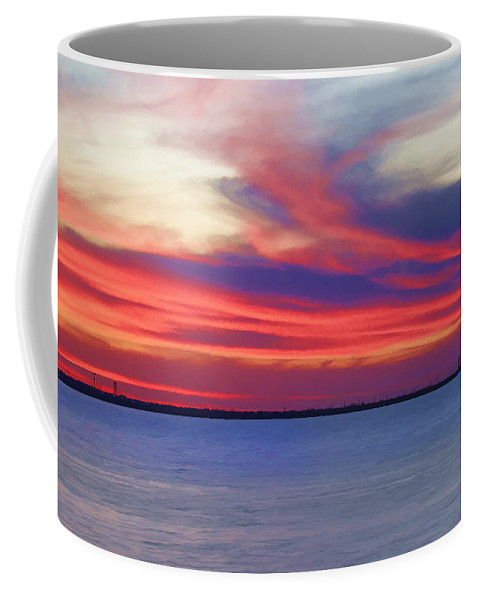 Lake Coffee Mug featuring the photograph Fire In The Sky by Ricky Barnard