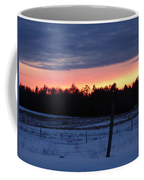Sun Set Landscape Maine Woods Snow Farm Field Coffee Mug featuring the photograph Fire In The Sky by Scott Welton