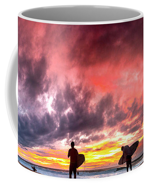 Surf Silhouettes Coffee Mug featuring the photograph Fire In The Sky. by Sean Davey