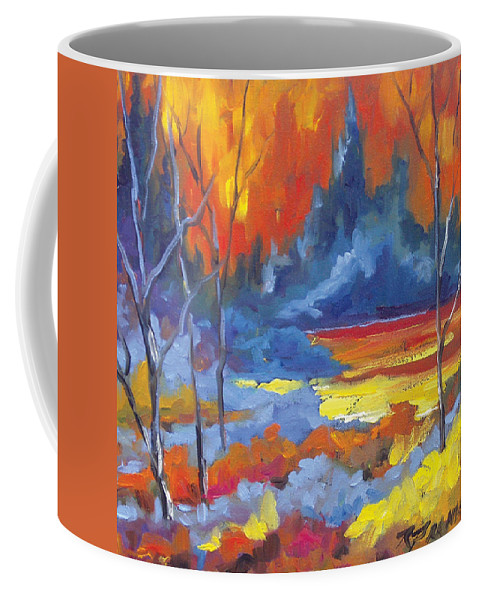 Art Coffee Mug featuring the painting Fire Lake by Richard T Pranke