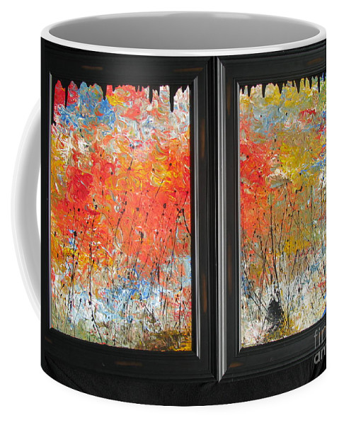 Fire Coffee Mug featuring the painting Fire On The Prairie by Jacqueline Athmann