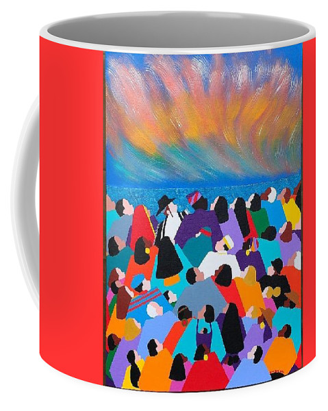 Obama Coffee Mug featuring the painting Fire Rainbow Obama by Synthia SAINT JAMES