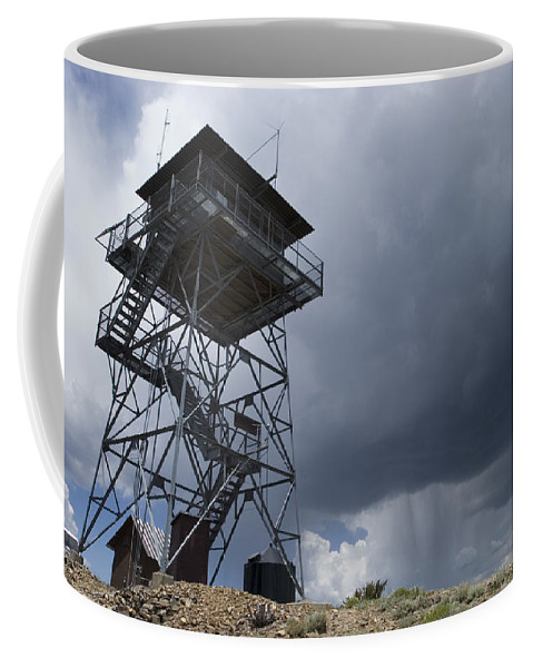 Fire Towers Coffee Mug featuring the photograph Fire Tower On Bald Mountain Surrounded by Rich Reid