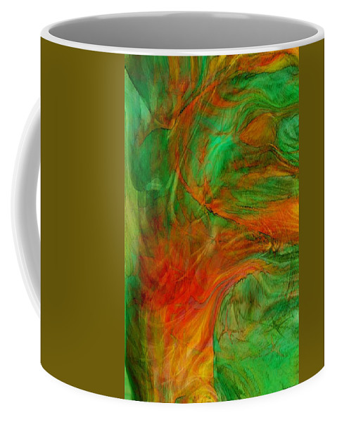 Abstract Art Coffee Mug featuring the digital art Fire Tree by Linda Sannuti