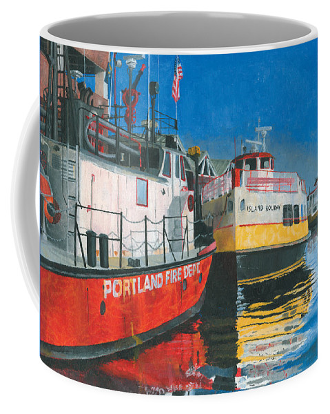 Fireboat Coffee Mug featuring the painting Fireboat And Ferries by Dominic White