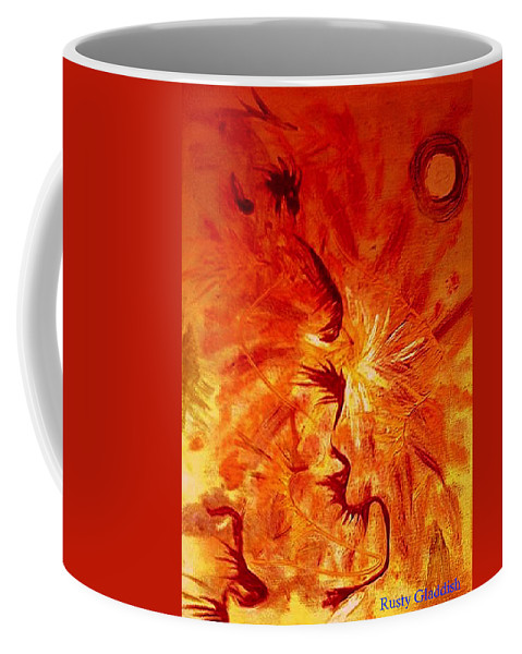 Abstract Coffee Mug featuring the painting Firebrand by Rusty Gladdish
