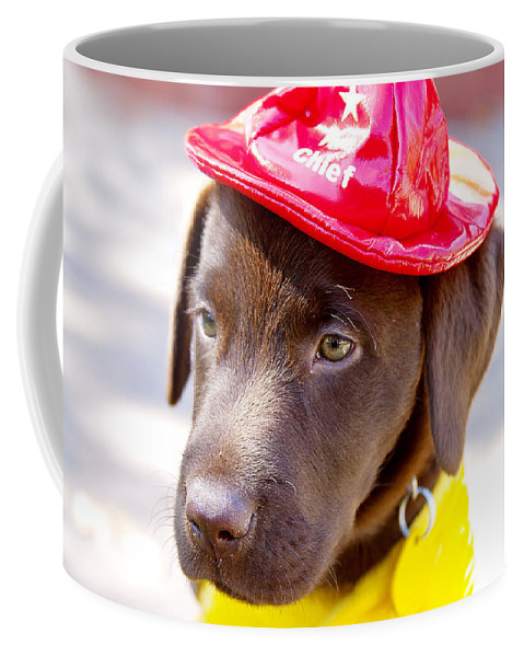 Dog Coffee Mug featuring the photograph Firefighter Pup by Toni Hopper