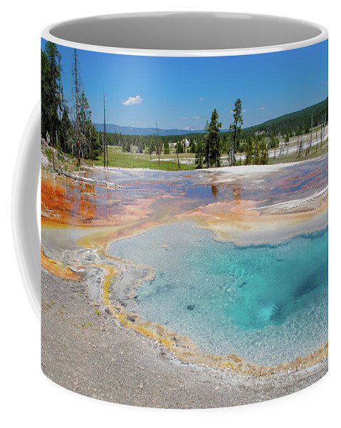 Firehole Spring Coffee Mug featuring the photograph Firehole Spring Geyser by Megan Martens