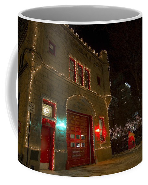 Firehouse Coffee Mug featuring the photograph Firehouse In Xmas Lights by Sven Brogren