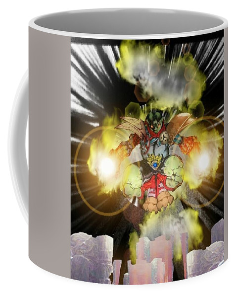 Fantasy Landscape Coffee Mug featuring the drawing Firelord by Louis Williams