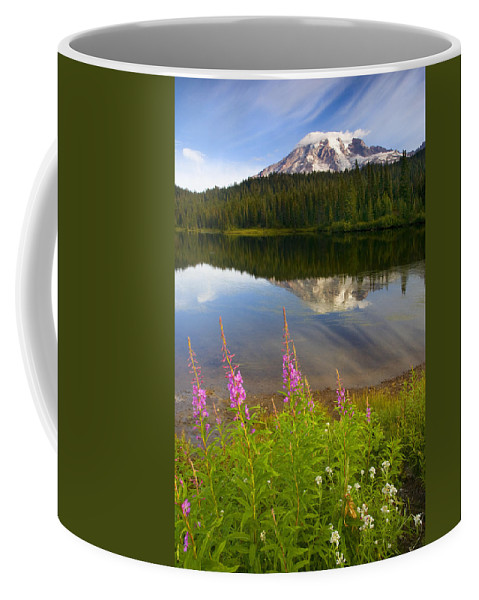 Fireweed Coffee Mug featuring the photograph Fireweed Reflections by Mike Dawson