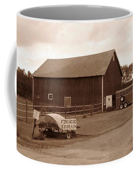 Barn Coffee Mug featuring the photograph Firewood For Sale by Rhonda Barrett