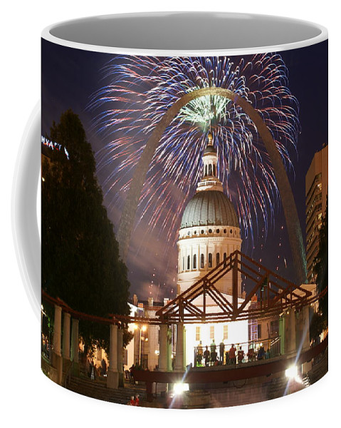 Saint Louis Coffee Mug featuring the glass art Fireworks At The Arch 1 by Marty Koch