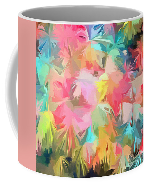 Painting Coffee Mug featuring the painting Fireworks Floral Abstract Square by Edward Fielding