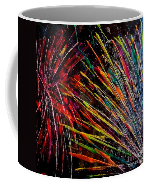 Fireworks Coffee Mug featuring the painting Fireworks In Bled by Dragica Micki Fortuna