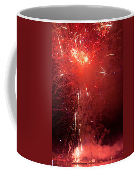 Firewalks Coffee Mug featuring the photograph Fireworks Over Humboldt Bay by Greg Nyquist