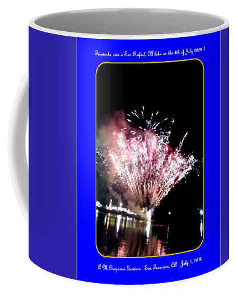 Fireworks Coffee Mug featuring the photograph fireworks over San Rafael lake by Anthony Benjamin
