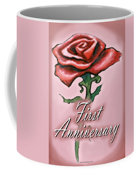 First Coffee Mug featuring the greeting card First Anniversary by Kevin Middleton