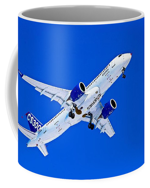 Airbus Coffee Mug featuring the photograph First Airbus A220-300 / Bombardier CSeries CS300 First Flight - No Text by Sylvain Faust