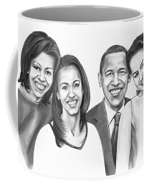 Barrack Coffee Mug featuring the drawing First-family 2013 by Murphy Elliott