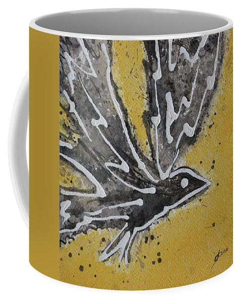 Bird Coffee Mug featuring the painting First Flight Original Painting by Sol Luckman