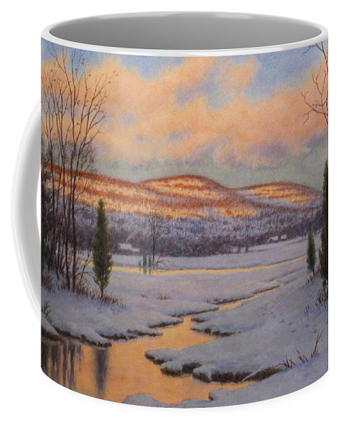 Winter Coffee Mug featuring the painting First Light by Barry DeBaun