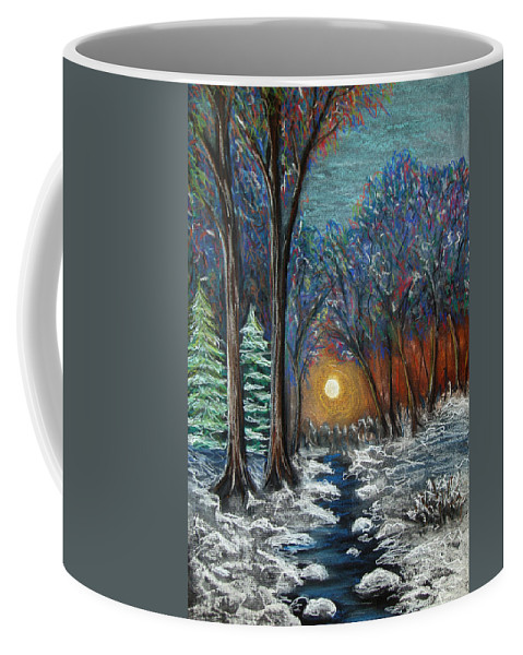 Snow Coffee Mug featuring the pastel First Snow by Nancy Mueller