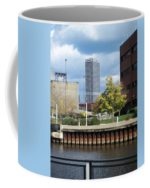 First Star Bank Coffee Mug featuring the photograph First Star Tall View From River by Anita Burgermeister