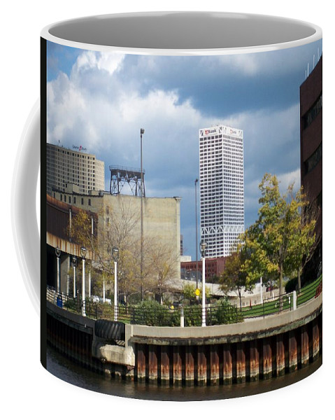 First Star Bank Coffee Mug featuring the photograph First Star View From River by Anita Burgermeister