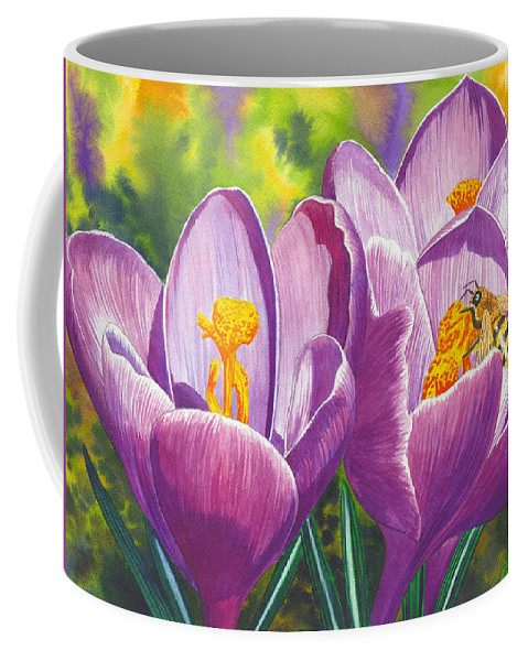 Crocus Coffee Mug featuring the painting First Up by Catherine G McElroy