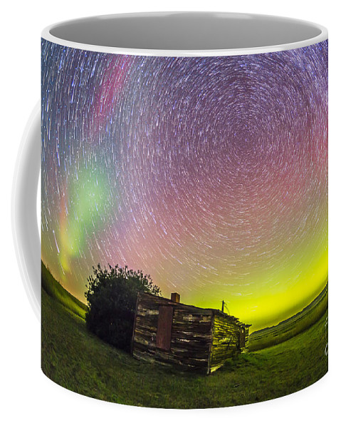 Aurora Coffee Mug featuring the photograph Fish-eye Lens Composite Of Aurora by Alan Dyer