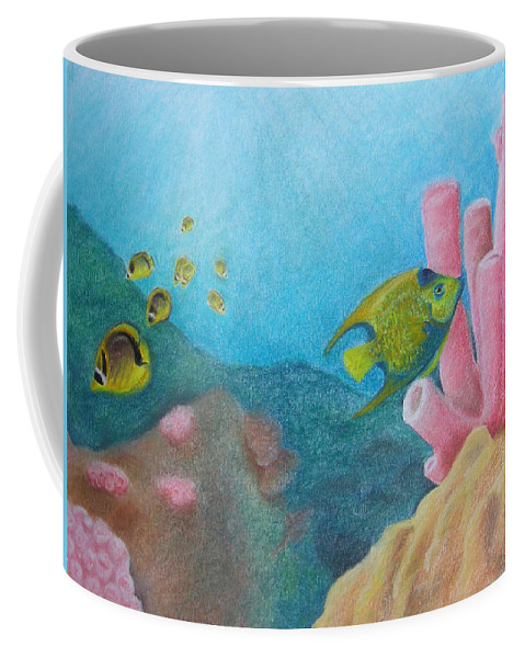 Nature Coffee Mug featuring the painting Fish Garden by Adam Johnson