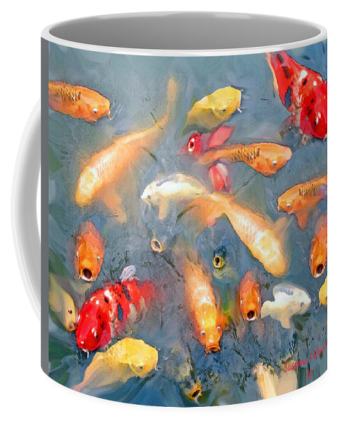 Fish Coffee Mug featuring the painting Fish In A Lake by Susanna Katherine