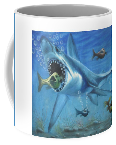Fish Coffee Mug featuring the painting Fish In Action by Olaoluwa Smith