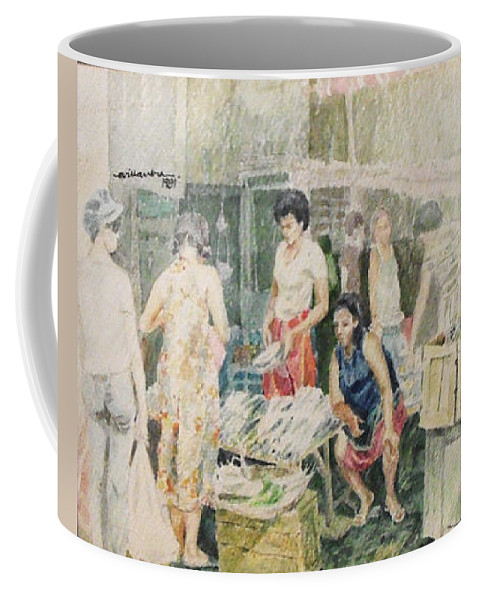 Market Coffee Mug featuring the painting Fish Market by Edwin Villavera