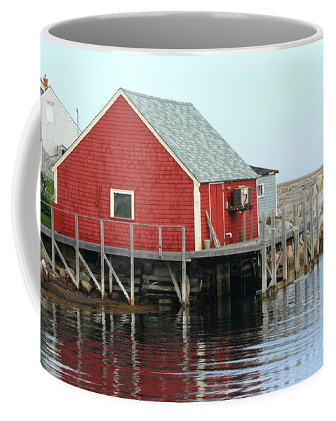Peggy's Cove Coffee Mug featuring the photograph Fishermans House On Peggys Cove by Thomas Marchessault