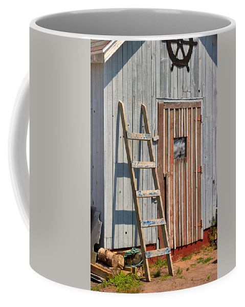 Travel Coffee Mug featuring the photograph Fisherman's Shed In Prince Edward Island by Louise Heusinkveld