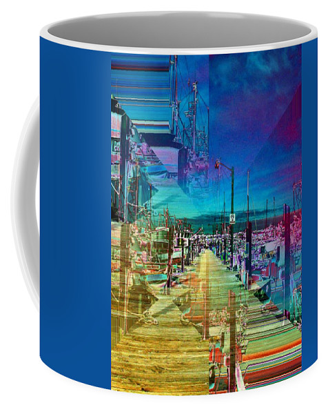 Seattle Coffee Mug featuring the digital art Fishermans Terminal Pier 2 by Tim Allen