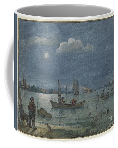 Fishermen By Moonlight Coffee Mug featuring the painting Fishermen By Moonlight by Celestial Images